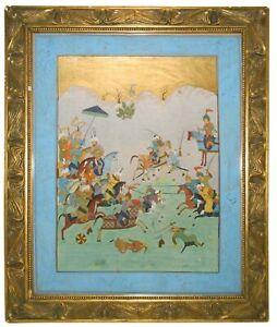 EARLY-MID 18TH C INDIAN MUGHAL EMPIRE ILLMNTD OPAQUE W/C BATTLE SCENE W/ORIG FRM