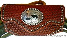 M&F Western Phone Case Leather Tooled Weave Stud Praying Cowboy Concho N7462608