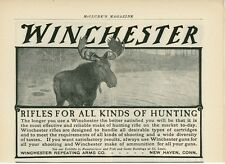 1904 Winchester Repeating Arms Co. Ad Rifle Hunting Moose Gun Vintage