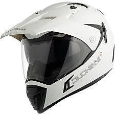 DUCHINNI D311 DUAL ADVENTURE MOTOR CYCLE HELMET SIZE LARGE WHITE