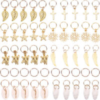 50x Gold Shell Snowflake Pendant Rings Hair Clip Accessories for Braid Jewelr OY