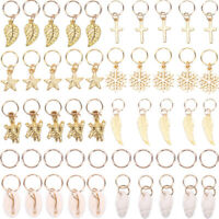 50x Gold Shell Snowflake Pendant Rings Hair Clip Accessories for Braid Jewelry