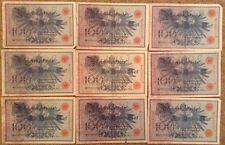 Lote de 9 X 100 Marcas. billetes alemán. Reichsbanknote. fechada 1908. Alemania