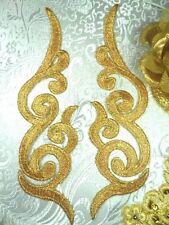 Gb89 Mirror Pair Gold Metallic Iron On Designer Embroidered Appliques