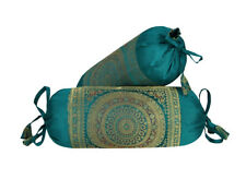 Green Color Indian Silk Brocade Work Mandala Print Bolster Cushion Covers Cases