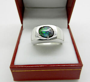 Solid 14k White Gold Rough Polished Black Opal Mens Ring 16 grams