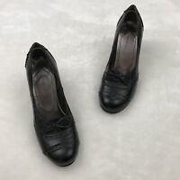 Nine West Womens Heels10 M Leather Black Bow Shoes Kitten Round Toe O Vertigo