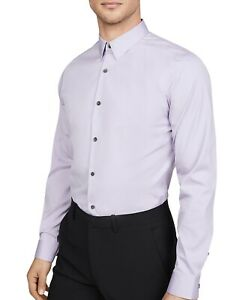 Theory Men Dress Shirt Lavender Purple Large L Collar Button Down $195- #318