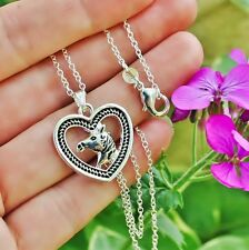 Horse Head Necklace Heart Rope Border Pendant Pony Lover Gift .925 Silver Chain