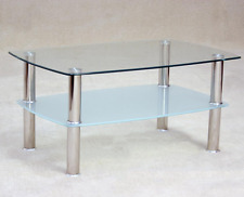 Togo Clear and Frosted Glass Coffee Table with Shelf Free Delivery
