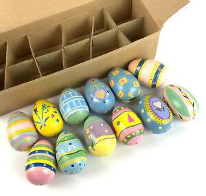 Lillian VernonEaster Eggs 12 Pastel Patterned Hand PaintedWoodDecorative Vtg