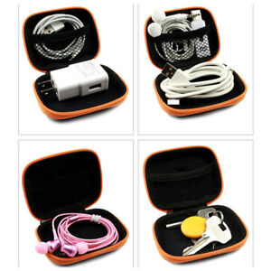 Small Earphone Case Bag Square Zipper Mini Storage Holder for USB SD Card Cable