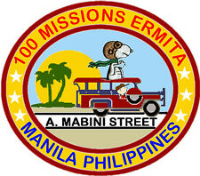 100 MISSIONS PATCH, ERMITA MANILA PHILIPPINES. A. MABINI ST. JEEPNEY WITH SNOOPY
