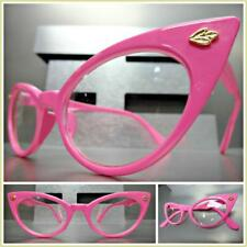 CLASSIC VINTAGE RETRO CAT EYE Style Clear Lens EYE GLASSES Pink Fashion Frame