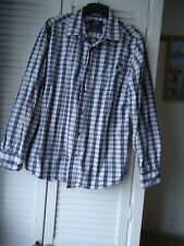 EASY Long Sleeved Blue Check Shirt 41 - 43 inch  100% Cotton
