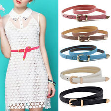 Women Lady Candy Color PU Leather Belts Thin Skinny Waistband Adjustable Belt