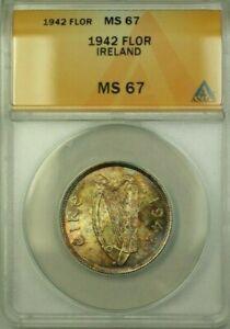 1942 Ireland 1 Fl�irin Coin ANACS MS-67
