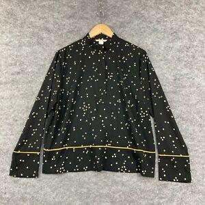 H&M Womens Blouse Top Size US 8 AU 12 Black Polka Dot Long Sleeve Shirt 194.24