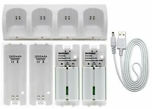 4× Rechargeable Battery Pack + Charger Dock For Nintendo Wii Remote Controller