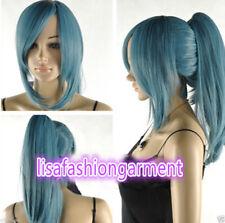 Fashion Ladies wig dark blue short straight cosplay wig + one ponytails For wig