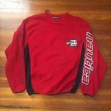 VTG Nautica Fleece Crewneck Sweatshirt Big Logo Spellout Medium Rare Red