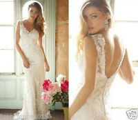 Backless Lace White/Ivory Wedding Dress Bridal Gown Custom Size 6-8-10-12-14-16+