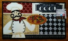 NWT KISS THE COOK PIZZA CHEF KITCHEN MAT GEOMETRIC CHECKED QUATREFOIL DECOR RUG
