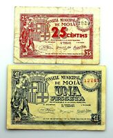 Spain- Guerra Civil. MOIA (BARCELONA). 25 Céntimos y 1 Peseta.