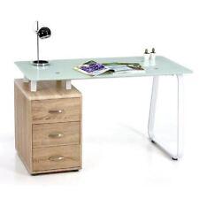 Scrivania comada Connect piano vetro cassettier rovere cm 130 elegante compatta