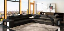 Ledersofa Sofa Couch Ecksofa Sitz Polster Wohnlandschaft XXL Big Weiden Black
