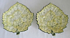Green White Pale Yellow Leaf Plates Made in Portugal Set of 2