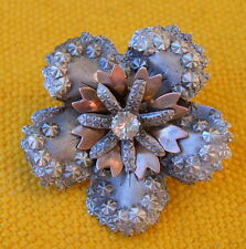 vers 1910 BROCHE FLEUR argent repoussé / ANTIQUE FRENCH SILVER STERLING BROOCH