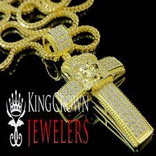 Jesus Face Cross Pendant+ Franco Chain Yellow Gold Sterling Silver Lab Diamond
