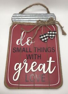 DO SMALL THINGS WITH GREAT LOVE Red Farmhouse Style Mason Jar Hanging Sign 10.5""