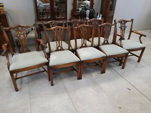 Set of Eight (6+8) Bevan Funnell Solid Mahogany Antique Style Dining Chairs