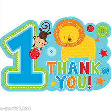 1st BIRTHDAY One Wild Boy THANK YOU NOTES (8) ~ First Party Supplies Stationery