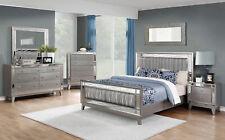 Transitional Silver 5 piece Bedroom Queen Bed Dresser Mirror Nightstands Set L7E