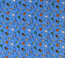 Halloween Fabric Mini Halloween Motifs on Blue 1 yd Witch Vampire Ghost & Others