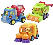 Happy Professional Cartoon Car Kid Engineers City Crew Friction Powered Fun Gift