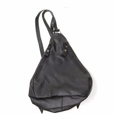 Vtg 90's Minimalist Faux Black Leather Teardrop Triangle Backpack