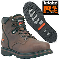 """Timberland PRO Boots Mens Pit Boss 6"""" Soft or Steel Toe Leather Boot Brown Black"""