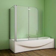 100x80cm Badewannenaufsatz 2-tlg. Faltwand Nano-Glas Duschabtrennung Seitenwand