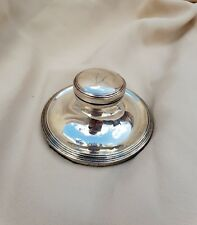 LOVELY ANTIQUE STERLING SILVER CAPSTAN INKWELL & GLASS LINER - Birmingham 1913