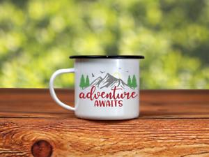Adventure Awaits | Enamel Camper Mug | Adventure | Camping