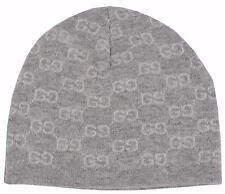 New Gucci Men's 387577 100% Cashmere Grey GG Guccissima Beanie Ski Winter Hat