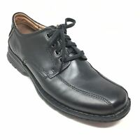 Men's Clarks Casual Oxfords Shoes Size 8.5 M Black Leather Bicycle Toe Laced M5