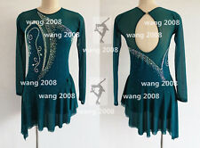 Girl Competition Figure skating Dress Ice Skating Dress Costume 00002C70  Sparkle green