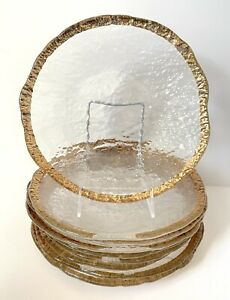 Textured Glass Dinner Plates With Gold Rim, Set Of Nine
