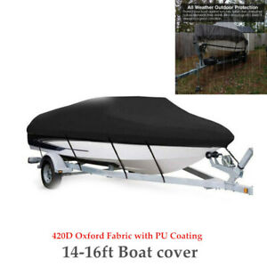 For 14-16ft Boat Cover Trailerable 420D Waterproof Marine Grade W/Fixed Straps