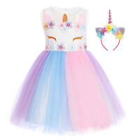 Girls Unicorn Birthday Dress Pastel Tulle Tutu Skirt Party Gown Outfit with Horn